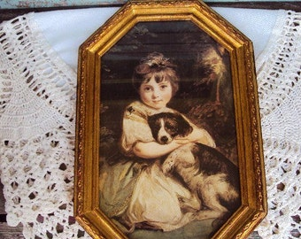 Vintage Italian Picture and Frame Victorian Print Wood Florentine Frame Girl and Puppy dog Picture Hollywood Regency