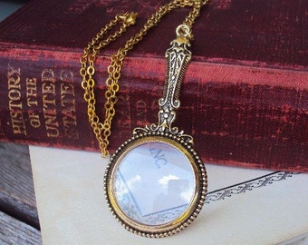 Vintage Style Magnifying Glass Pendant Necklace Victorian Style Ornate Metal Reading Magnifier  Long Chain