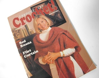 Vintage crochet book, hooked on crochet, crochet patterns, assorted vintage patterns, sewing, homemaker, aphgan, baby,kitchen, 13 patterns,