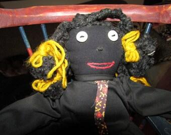 Adorable  Hand Made Artist BLACK Cloth  DOLL
