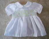 Vintage Baby Clothing White Baby Dress Smocked Dress Infant / Premie