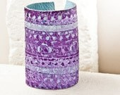 Leather Bracelet Leather Cuff - Ethnic Folk Purple Violet Light Blue Baby Blue - Leather Jewelry Leather Wristband
