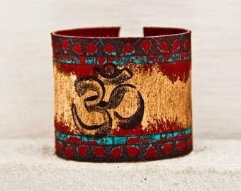 Yoga Bracelets Om Jewelry - Valentine's Day Handpainted Leather Items Wristbands Wrist Cuffs - Winter Fashion