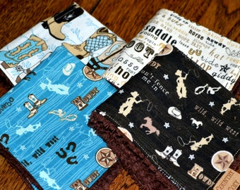 Cowboy Cowgirl Children Washcloths Set of Four Black Blue Tan