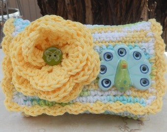 Crocheted Purse  ~  Yellow, Lime Green and Robins Egg Blue with Peacock Crocheted Little Bit Purse