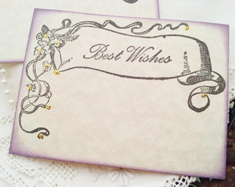 FREE SHIPPING  Wedding Wish Cards Vintage Inspired Banner Purple Edging Gold Glitter Wish Box Cards Set of 25