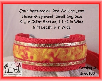"""Jan's Martingales, Red  Dog Collar Leash Combination Walking Lead,  Italian Greyhound, Small Dog Size, 9 1/2"""" Collar Section, Ired103"""