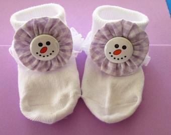 girls snowman socks, girls decorated socks, baby socks, baby booties