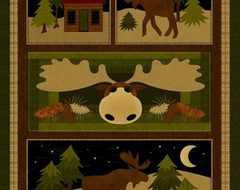"""NEW Moose on the Loose Fabric Panel 24"""" x 44"""" Fall Autumn North Woods for Quilt or Craft"""