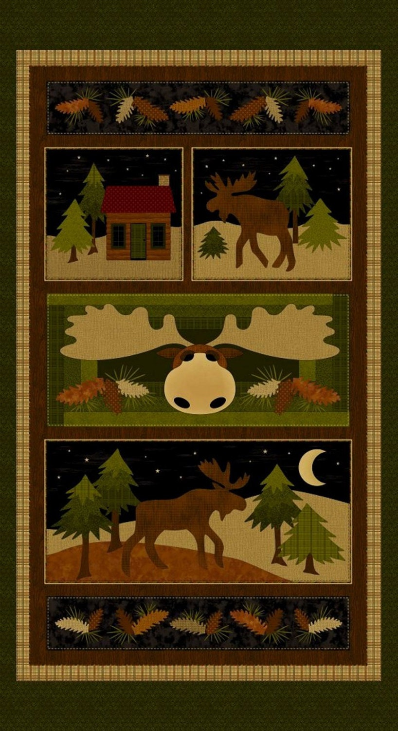 New Moose On The Loose Fabric Panel 24 X 44 Fall