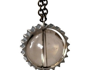 Smoky Cog-Smoky Quartz-Sterling Silver ring-Gal Barash-long moving magical Pendant-MJ
