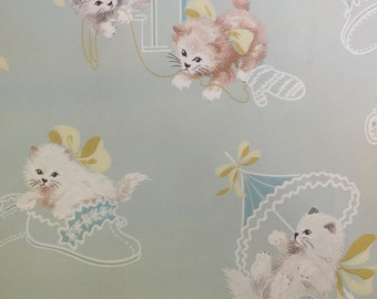 SALE - 25% - The BEST  Screen Print Children's Wallpaper-Kittens