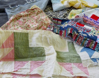 Vintage Fabric Lot for Upcycling Quilt Squares