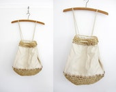 Vintage rucksack / beige linen and straw backpack