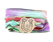 Horseshoe Jewelry, Horse Jewelry, Silk Wrap Bracelet, Equestrian Jewelry, Cowgirl Bracelet, Boho Chic Jewelry, Eco Friendly Jewelry
