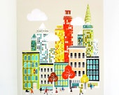New York Wall Art, Skyline, Manhattan, Framed Canvas Wall Art, Cityscape illustration, home decor, Nursery, ready to hang, orange yellow
