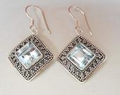 Sterling silver Topaz gemstones dangle earrings / silver 925 / Bali Granulation Handmade Jewelry / 1.50 inch long