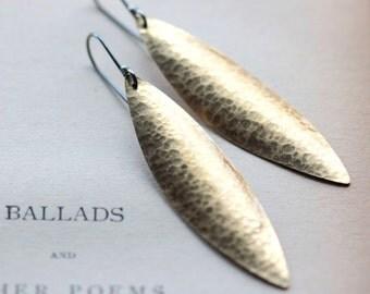 Large Earrings Leaf Earrings Hammered Texture Earrings Sterling Silver Earrings Gold Earrings Large Earrings Dangle Earrings - Cyprus