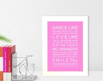 A5 unframed subway wall art print Family Wishes Typography bus roll
