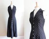 Vintage 1980s Black Polka Dot Midi Dress