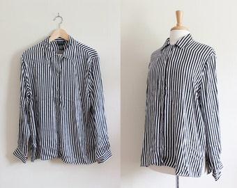 Vintage Black & White Stripe Silk Button Down