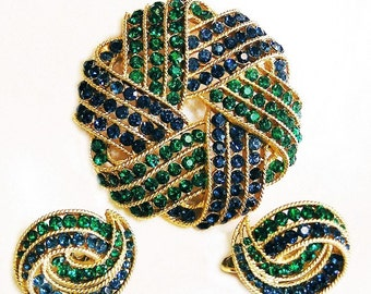 Trifari Cavalcade Sapphire and Emerald Rhinestone Brooch and Earring Set