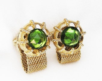 Swank Nautical Style Green Faceted Glass Cuff Links