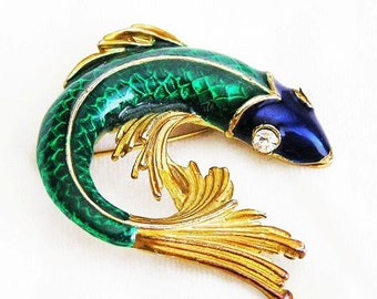 Green and Blue Enamel Koi Fish Figural Brooch