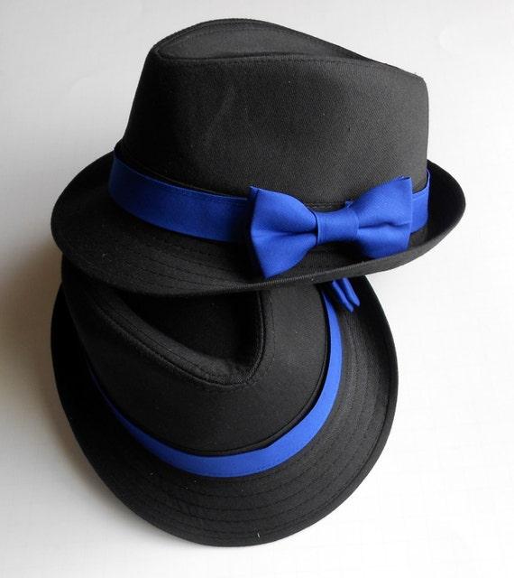Cursedi White Fedora hat with blue band. : Hats  |Blue Black Band Fedora