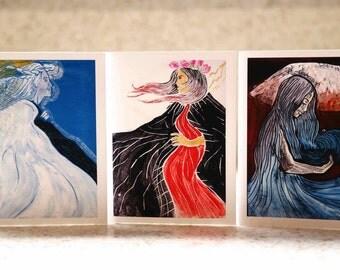 "Pele, Poliʻahu & Waiau, 3-Pack Greeting Cards, 4"" x 6"""