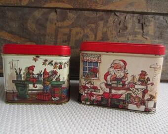 Vintage Christmas Tins Santa's Workshop