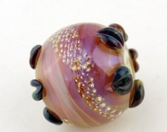 Lampwork Glass Beads SRA Iridescent Hot Pink Blue Purple Silver 'Silver Sunset'