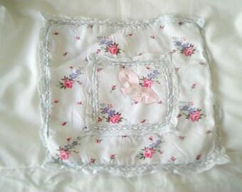 vintage handkerchief holder, 1920s, pink antique ribbon, shabby roses fabric, vintage silk ribbon,