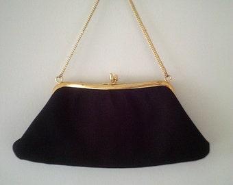 black 50s handbag, black vintage bag, black 50s purse, 50s costume, black vintage purse, black evening bag, 50s purse
