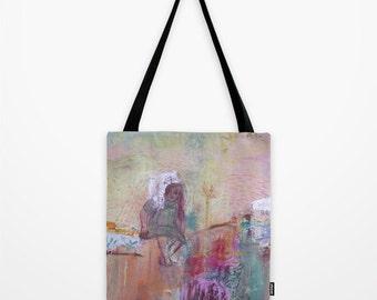 Tote Bag Art, poly poplin fabric, tote bag girl