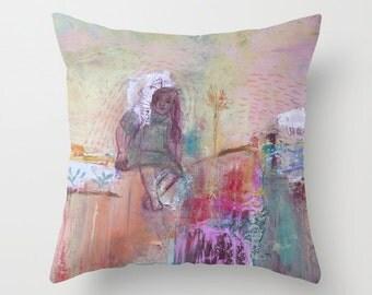 Art pillow cover, pillow case, decorative throw pillow, spun poplin, pink green, cushion case