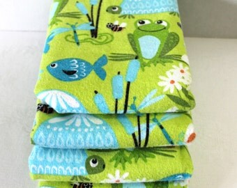 Baby Gift Set of 4 XL Receiving Blankets Blue and Green Frogs Fish Gender Neutral Shower Gift