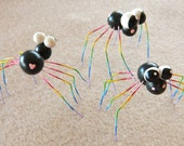 3 Baby Rainbow Black Widows OOAK Polymer Clay FIMO Sculpey
