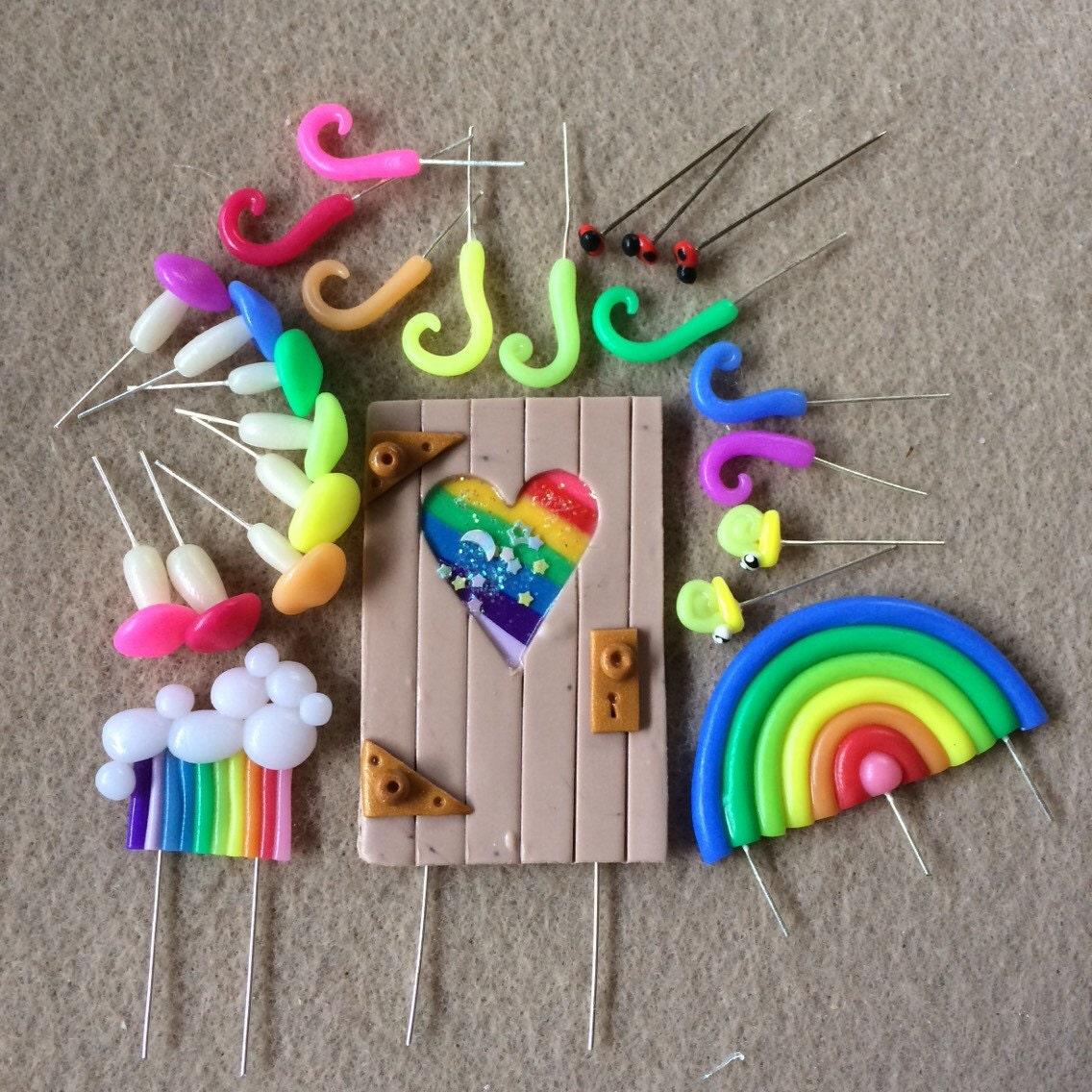 Magic fairy door and rainbow terrarium set polymer clay for Rainbow fairy door