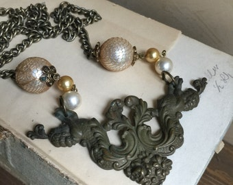 Repurposed Vintage Findings Assembled Necklace Mermaids