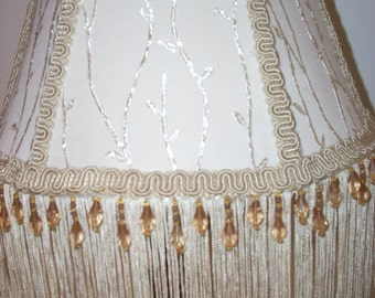 Hand Made Embroidered Satin Lamp Shade with Beaded Fringe