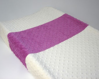 Changing Pad Cover Color Block Ivory Berry Pink
