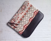 Fold Over Clutch, Print Clutch, Vegan Clutch, Tribal Print Clutch, geometric print