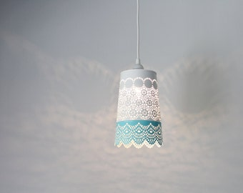 Aqua Blue & White Lace Pendant Lamp, Colorful Hanging Lighting Fixture With A Metal Mesh Lace Shade, Modern BootsNGus Lights And Home Decor