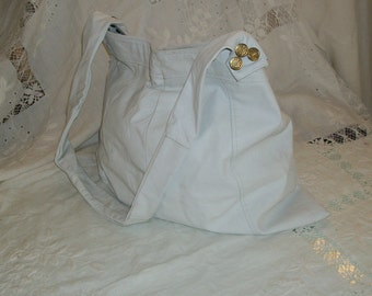 White Leather Large Purse Hobo Tote Messenger Bag Ipad Wedding Orig Design Unique One of a Kind One Size Fits All