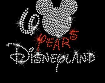 Disneyland 60th anniversary 60 years Disney iron on rhinestone transfer
