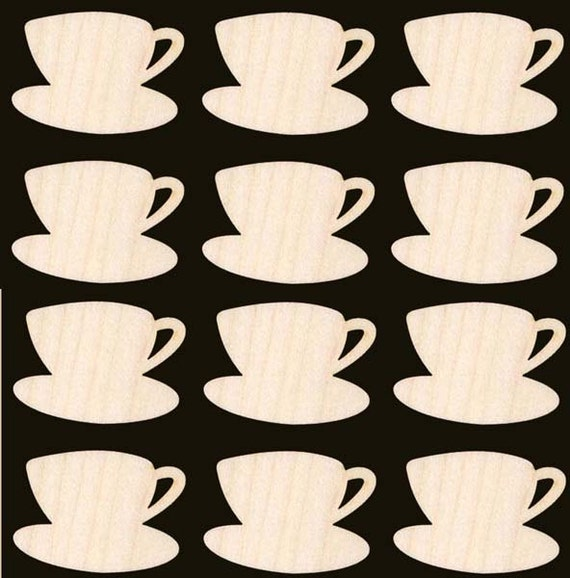 12 Pieces Tea Cup and Saucer Shape BUY THE DOZEN Natural Wood 308