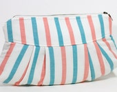 SALE - Nana handmade turquoise and coral striped Sophie clutch