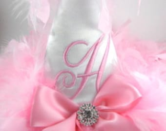 First Birthday Party Hats-White Satin with Baby pink Initial