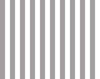 Gray and White Half 1/2 Inch Stripes Fabric from Riley Blake Designs - By the Yard - 1 Yard - Grey